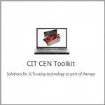 "CIT CEN Logo (a laptop showing a picture of a toolkit on its screen), plus the text ""solutions for SLTs using technology in their practice"""