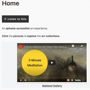 "Screenshot of ArtAphasia.com homepage. Text says Home. There is also a button saying ""listen to this"" and an image of a painting by Turner"